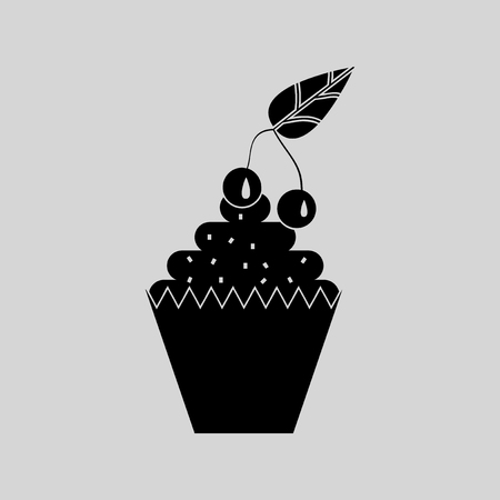 embraced: Flat in black and white cupcake with cherry Illustration