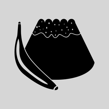 afters: Flat in black and white bun with banana Illustration