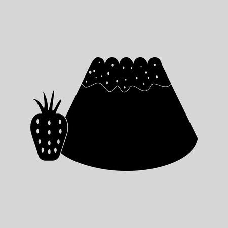 corn poppy: Flat in black and white Bun with strawberri Illustration