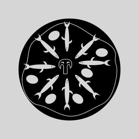 anchovy: Flat in black and white pizza with anchovies Illustration