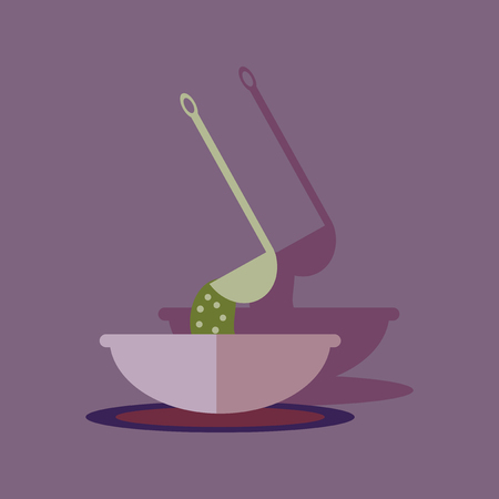 broth: Flat with shadow Icon plate soup ladle