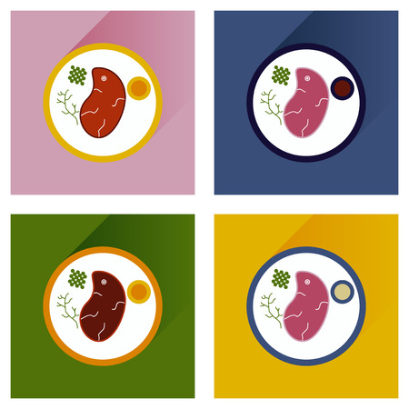 dinner plate: Modern flat icons vector collection with shadow steak on plate