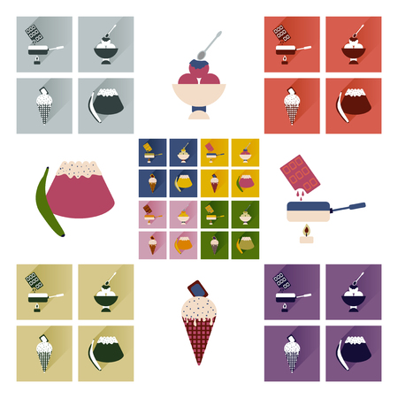 fondue: Modern flat icons vector collection with shadow sweet desserts Illustration