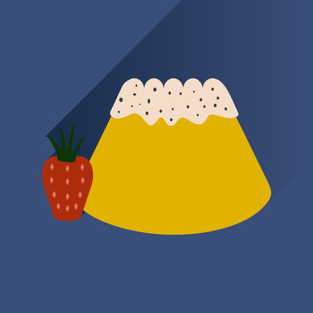 shortcake: Flat with shadow Icon Bun strawberries on bright background