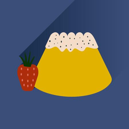 gelatin: Flat with shadow Icon Bun strawberries on bright background