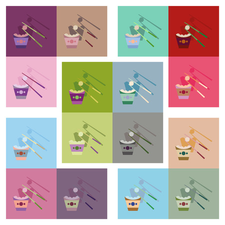 Modern flat icons vector collection with shadow Chinese cheese balls Illustration