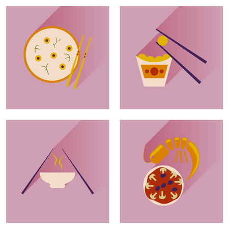 fried shrimp: Modern flat icons vector collection with shadow Japanese dishes