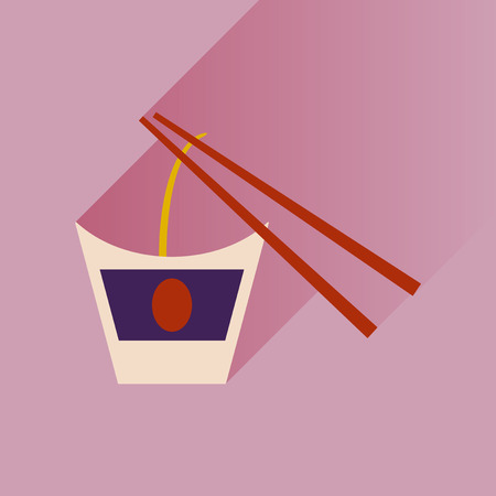 chinese food container: Flat with shadow Icon Chinese noodles sticks