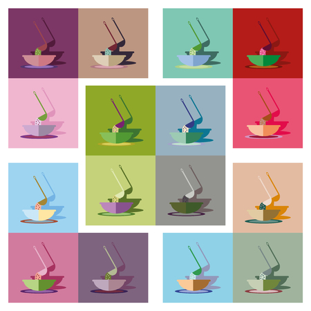broth: Modern flat icons vector collection with shadow plate soup ladle