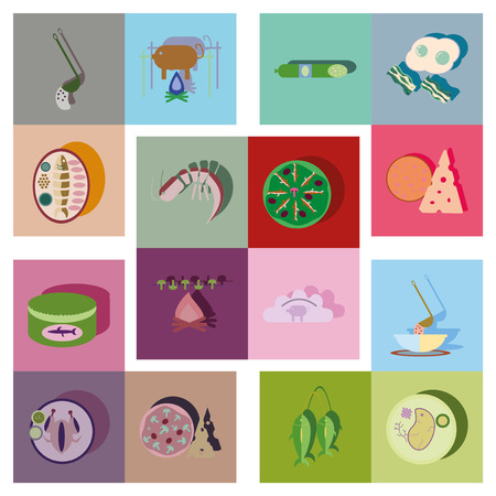 chinesisch essen: Moderne Flach Symbole Vektor-Sammlung mit Schatten Lebensmittel Illustration