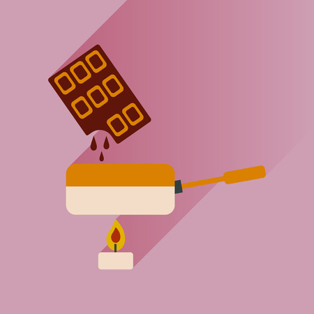 dessert buffet: Flat with shadow Icon chocolate fondue on bright background