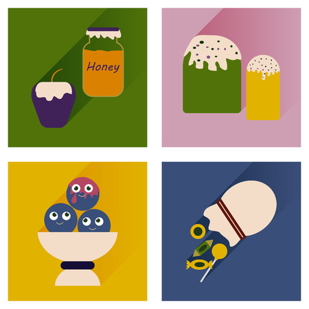 snacks: Vector set flat icons with long shadow sweet snacks Illustration