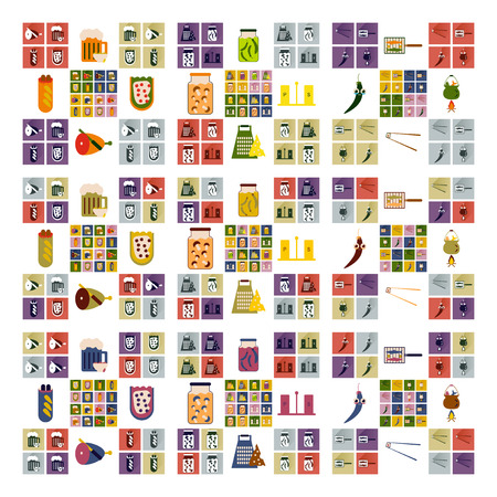 egg roll: Vector set flat icons with long shadow exotic food Illustration