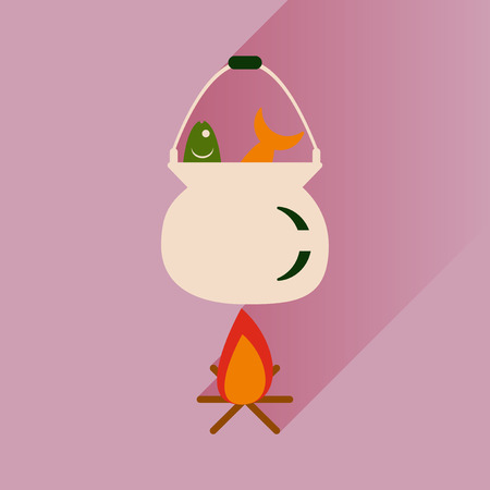 fish fire: flat icon with long shadow fish soup fire