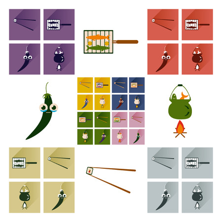 exotic food: Vector set flat icons with long shadow exotic food Illustration
