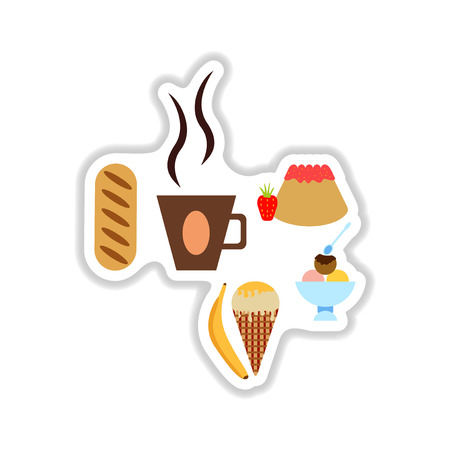 glace: Set stylish paper stickers savory and sweet snacks
