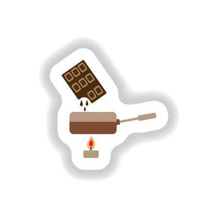 fondue: stylish paper sticker chocolate fondue on candle