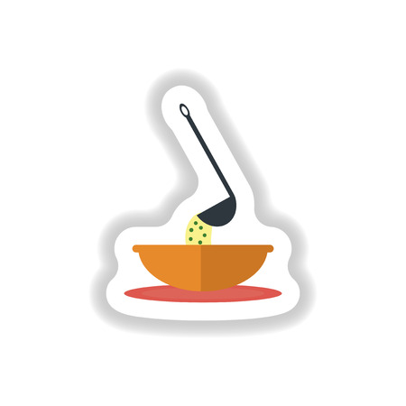ladle: stylish paper sticker a bowl of soup and ladle