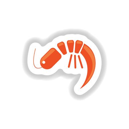 stylish paper sticker on white seafood shrimp