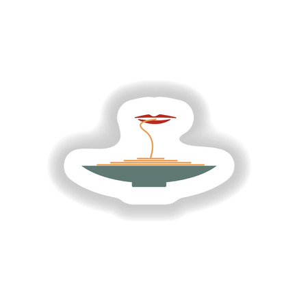 bolognese: stylish paper sticker a plate of spaghetti and lips Illustration