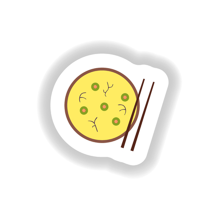 beans and rice: stylish paper sticker miso soup and chopsticks