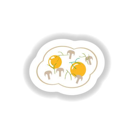 garnished: stylish paper sticker fried eggs with mushrooms Illustration