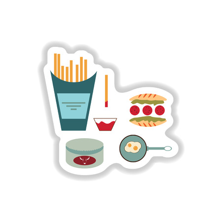 frites: assembly paper stickers on white unhealthy food