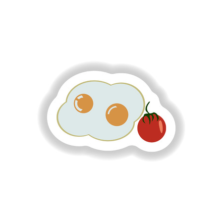 fried: stylish paper sticker fried eggs with tomatoes