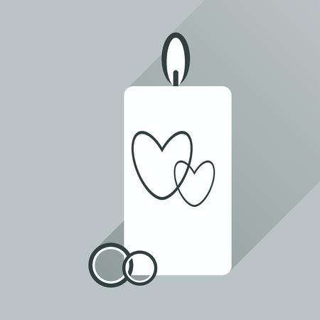 flat icon with long shadow wedding Candle Çizim