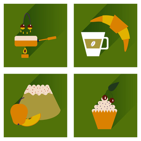 fondue: Modern flat icons vector collection with shadow Dessert