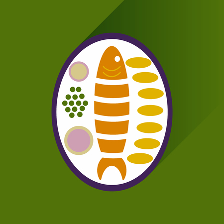 고명: Flat with shadow Icon fish on plate garnish 일러스트