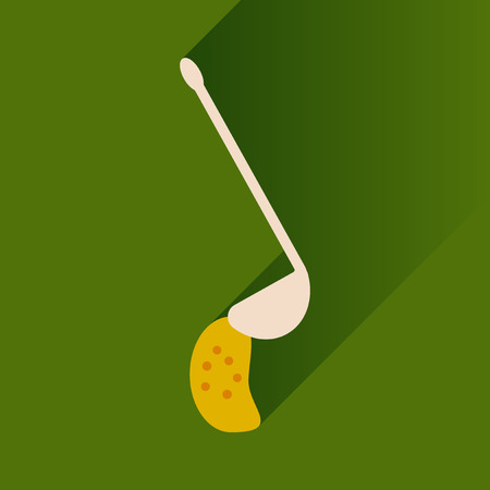 crock: Flat with shadow Icon ladle soup on bright background