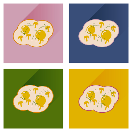 fried eggs: Modern flat icons vector collection with shadow fried eggs mushrooms Illustration