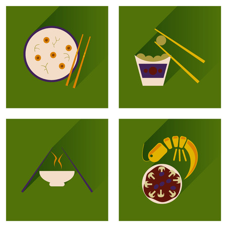 Modern flat icons vector collection with shadow Japanese dishes