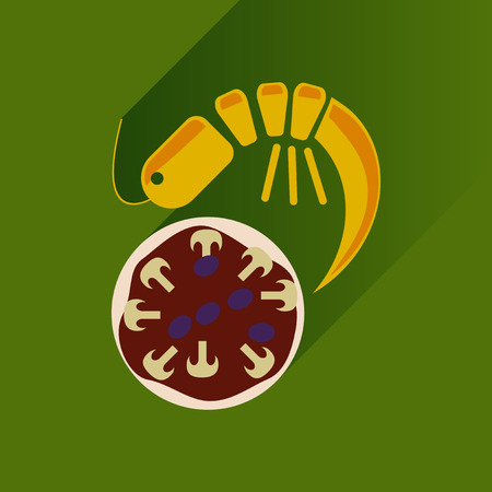 margherita: Flat with shadow Icon pizza and shrimp
