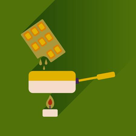 fondue: Flat with shadow Icon chocolate fondue on bright background