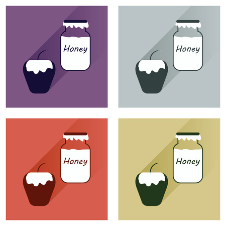 apple honey: Vector set flat icons with long shadow honey and apple Vettoriali