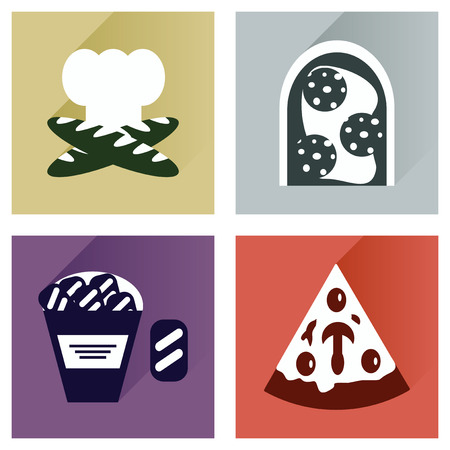 grease: Vector set flat icons with long shadow junk food