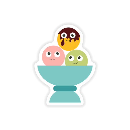 color selection: stylish sticker on a white background balls of ice cream Illustration