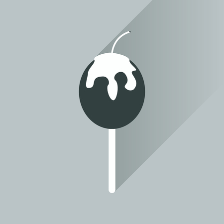 baked: flat icon with long shadow baked apple