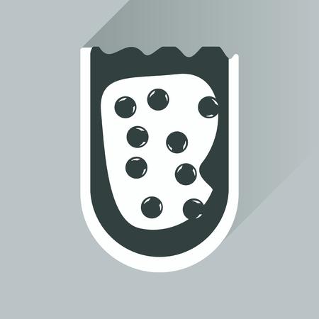 caviar: flat icon with long shadow sandwich caviar Illustration