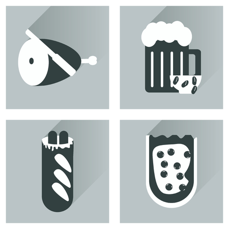 ham sandwich: Vector set flat icons with long shadow snacks for party