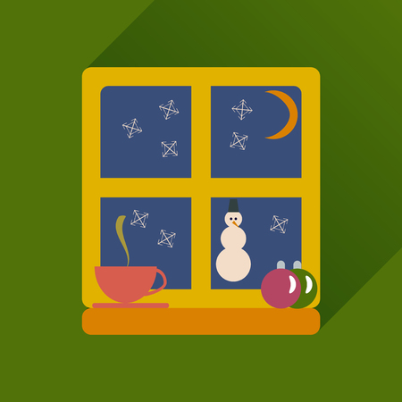 besom: flat icon with long shadow snowman outside Illustration