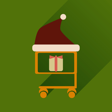nick: flat icon with long shadow cart with Christmas present