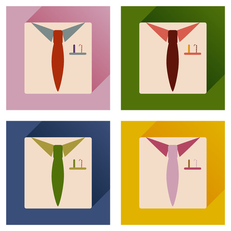 shirt and tie: Set of flat icons with long shadow Christmas shirt tie