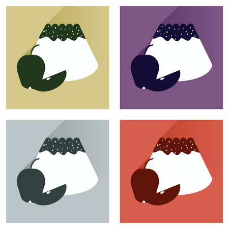 fruitcakes: Modern flat icons vector collection with shadow bun with apple