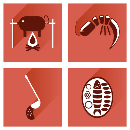 meals: Modern flat icons vector collection with shadow restaurant meals