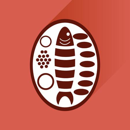 garnish: Flat with shadow Icon fish on plate garnish Illustration