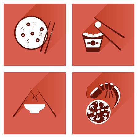 fried noodle: Modern flat icons vector collection with shadow Japanese dishes