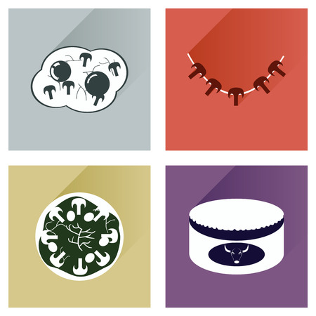 button mushroom: Modern flat icons vector collection with shadow food Illustration
